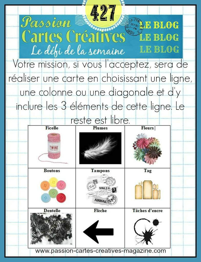 CHALLENGE PASSIONS CARTES CREATIVES 427