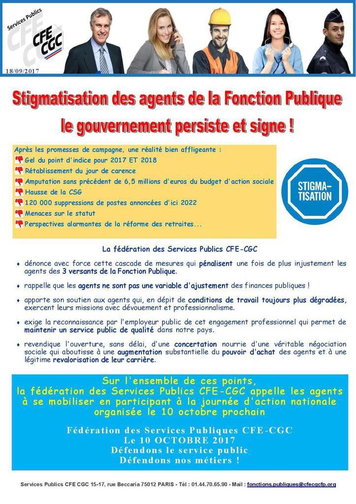 Communiqué services publics CFE-CGC relatif à la journée d'action du 10 octobre.