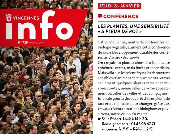 Conférence à Vincennes : les plantes, des êtres si sensibles...