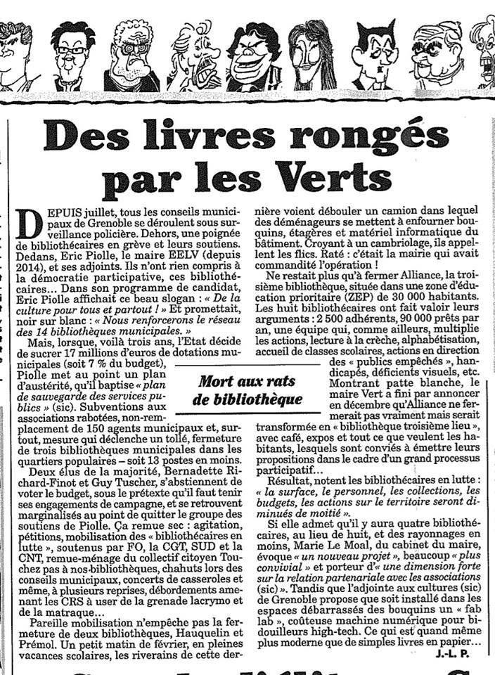 Le Canard Enchainé se déchaine sur les fermetures de bibliothèques à Grenoble