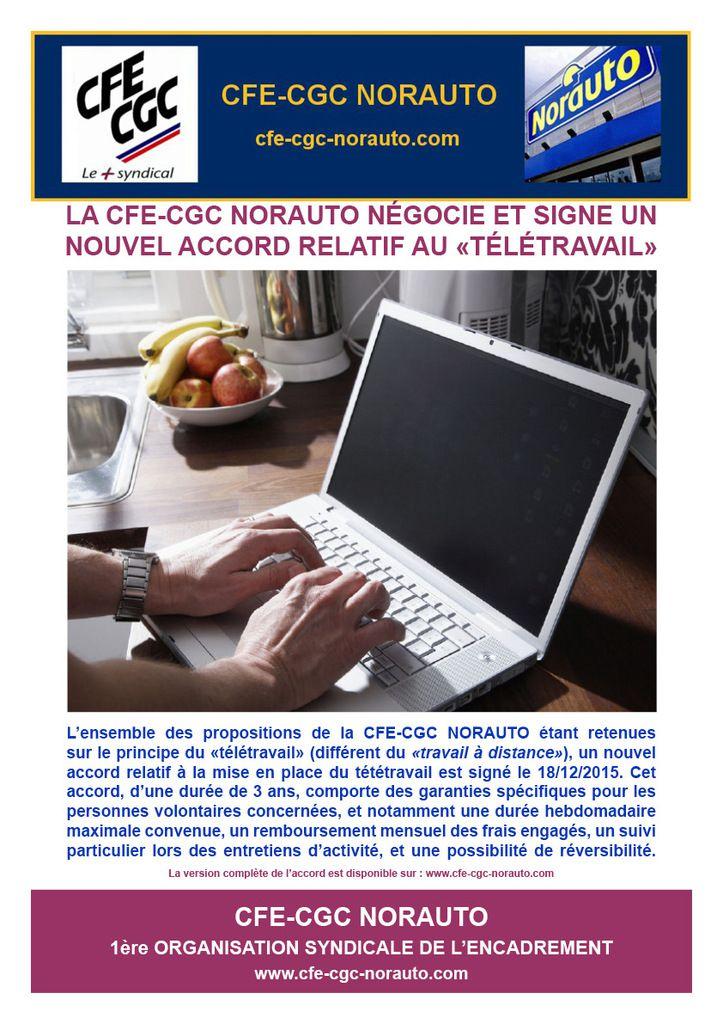 La CFE-CGC NORAUTO négocie et signe un nouvel accord &quot&#x3B;Télétravail&quot&#x3B;