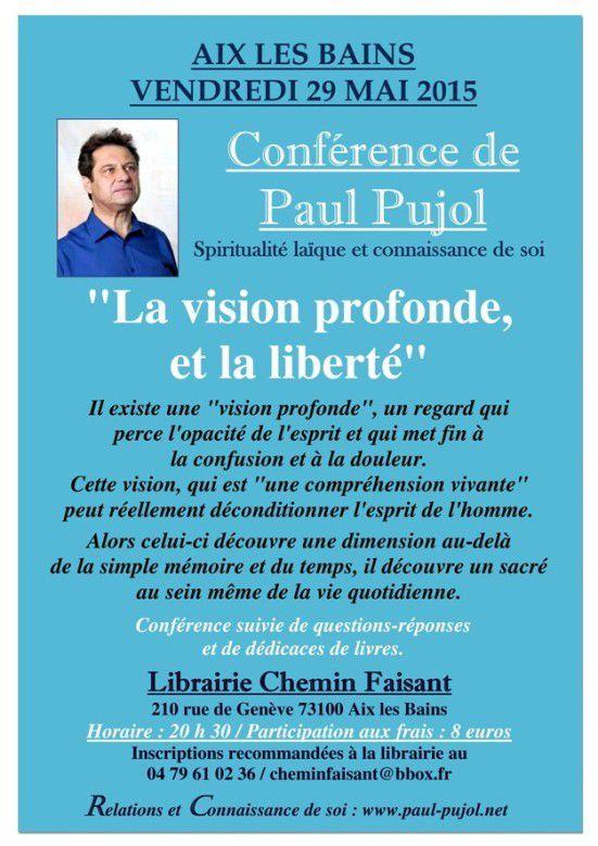 29 mai 2015 à AIX LES BAINS (73): Conférence de Paul Pujol