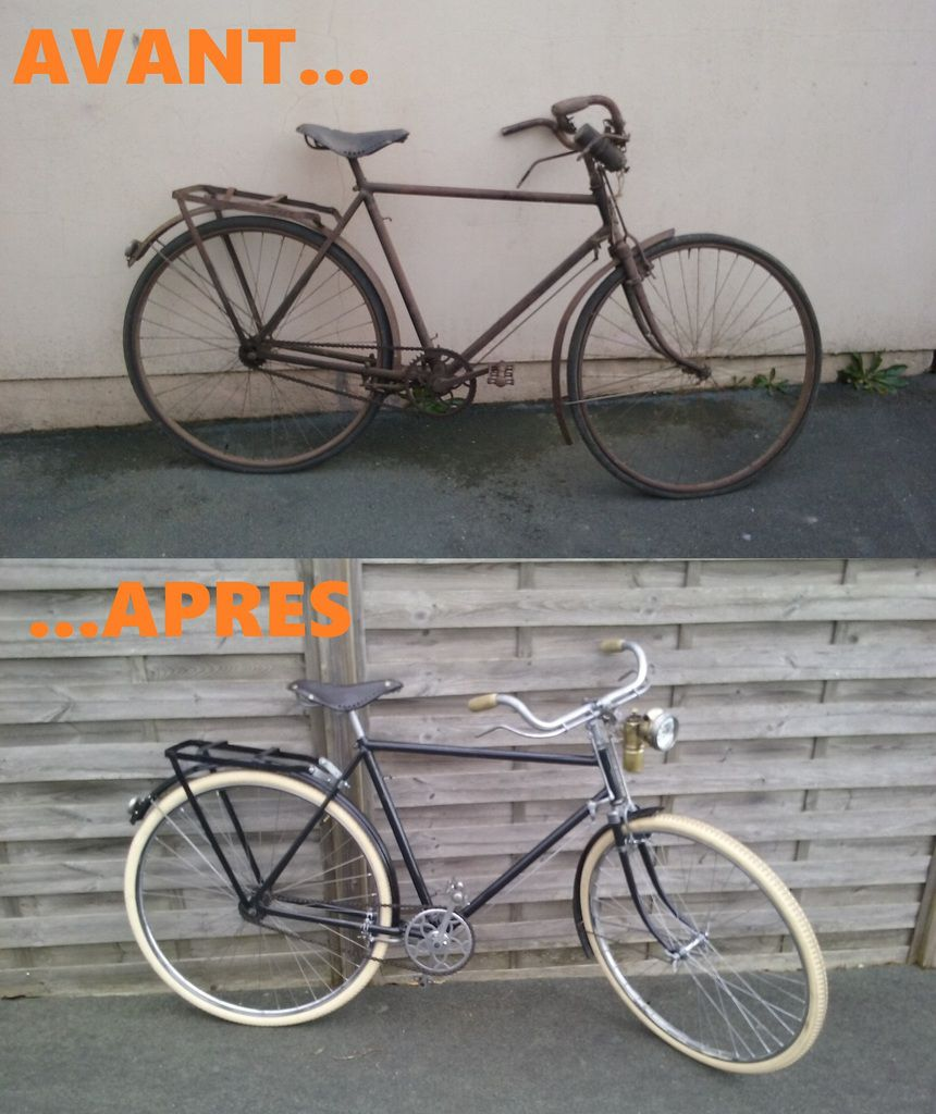 Vélo homme EVICTA de 1930 selon expertise. 48X18, poignée en bois et selle cuir.