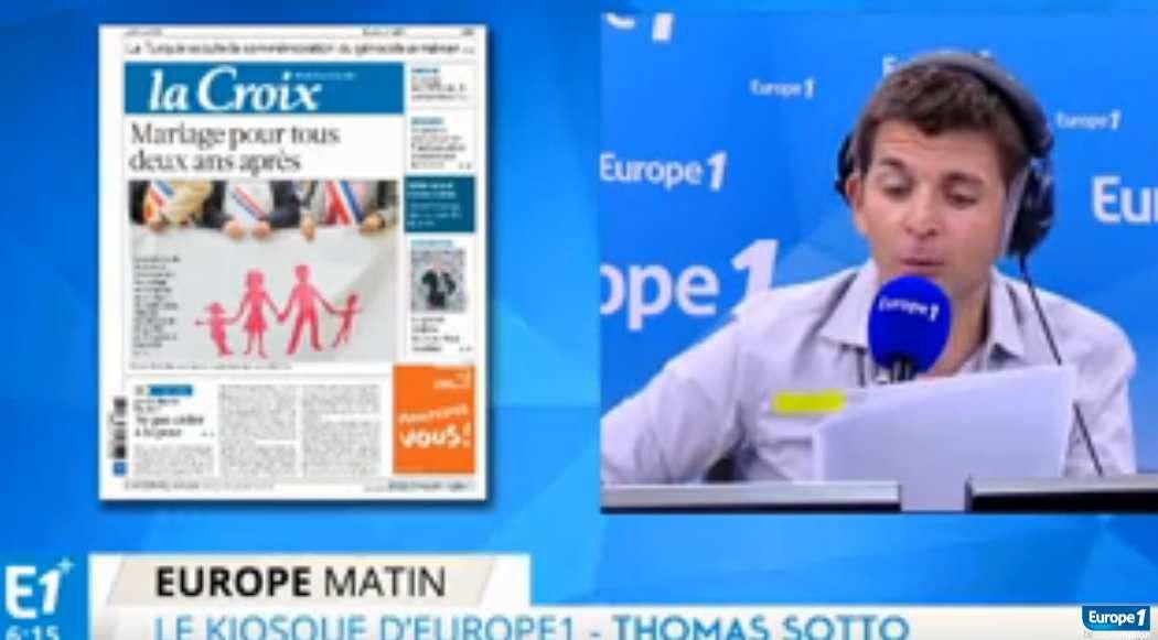 La Manif Pour Tous Thomas Sotto cite dans sa matinale la une de La Croix.