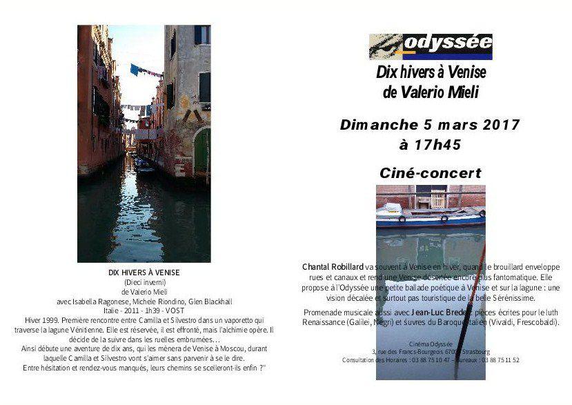 lecture-concert Voyage d'hiver à Venise  à l'Odyssée de Strasbourg