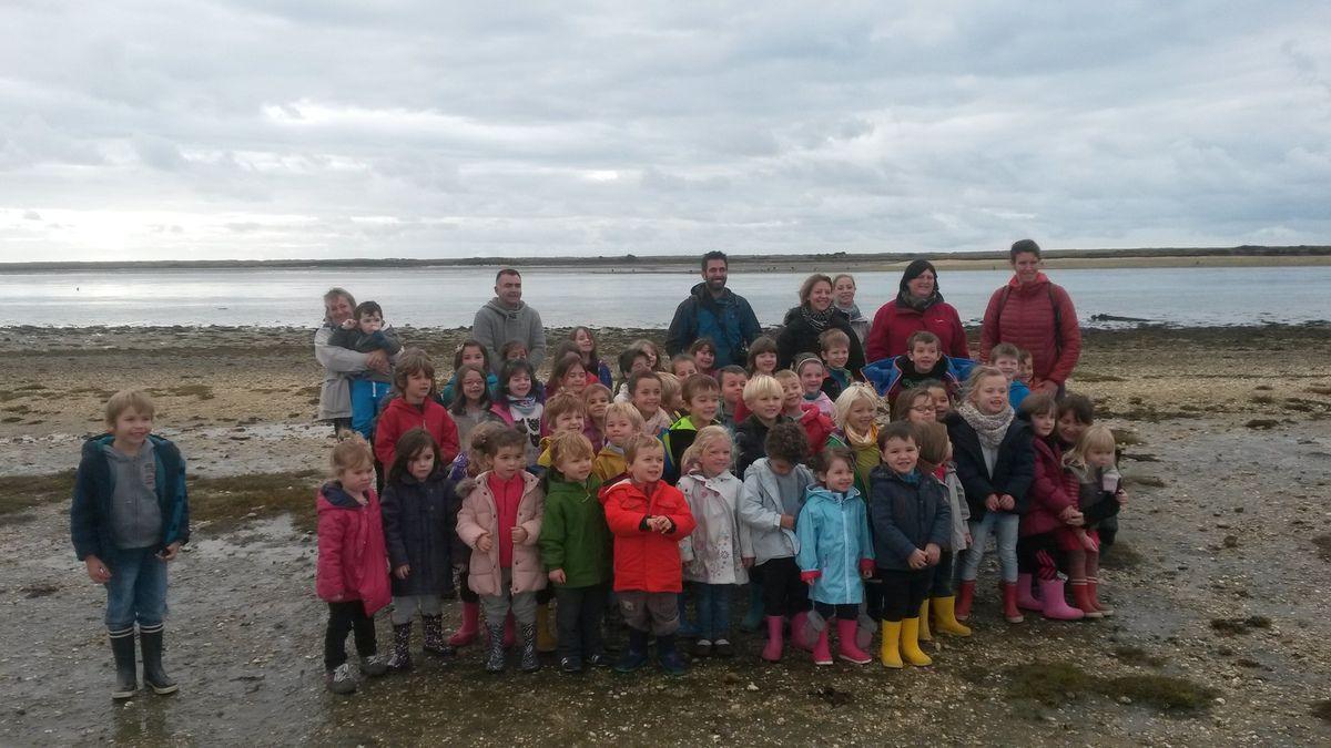 Chaussés de leurs bottes, les élèves de petite section, de grande section, de CP et de CE1  bilingues, se sont rendus à l'Ile Kerner à Riantec pour assister à une animation sur la découverte de l'Estran.