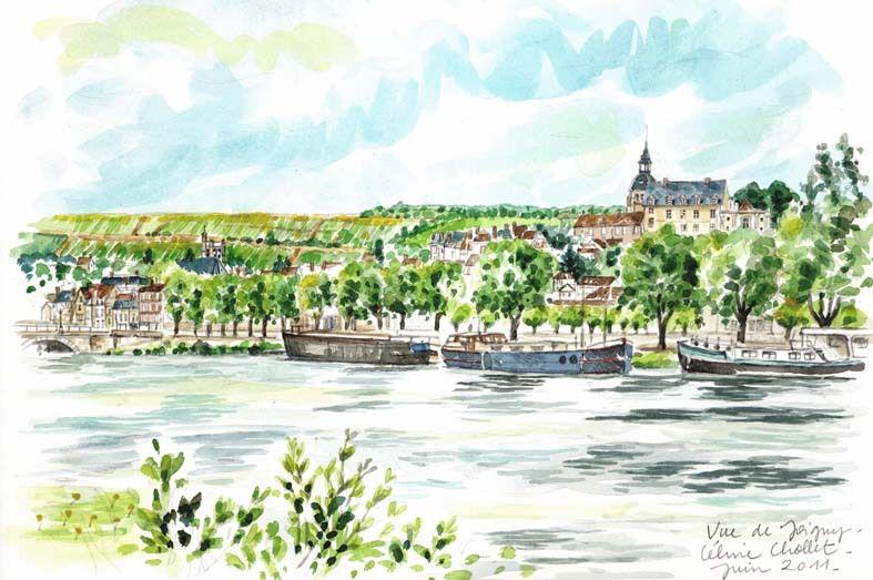 Bord de l'Yonne à Joigny, aquarelle de Céline Chollet (1)