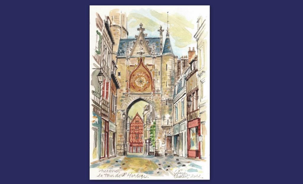 La tour de l'Horloge, aquarelle de Céline Chollet (1)