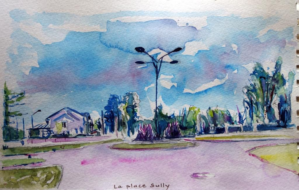 La place Sully, aquarelle mai 2015