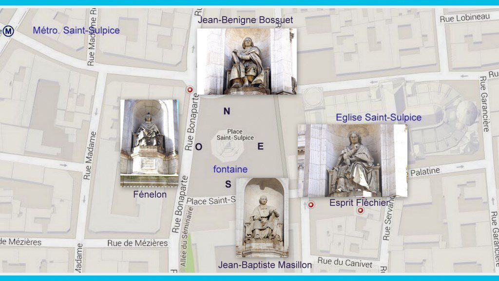 La place Saint-Sulpice, la fontaines et ses personnages, Paris VIème et son accès par le métro.