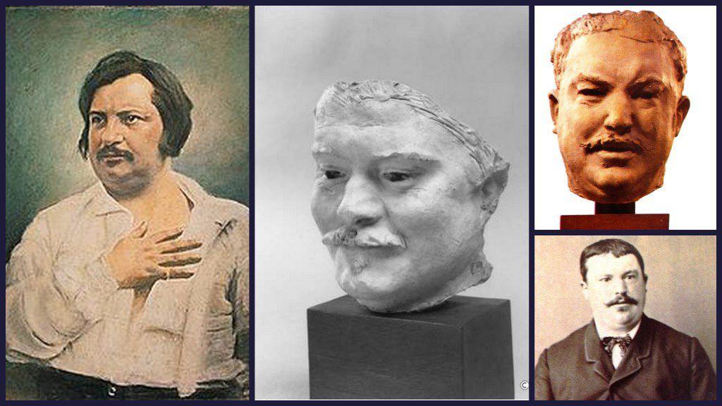 Balzac,daguerréotype de L. A. Bisson, au centre :  étude en plâtre de Rodin,  à droite : le modéle du sculpteur  Estager, conducteur de diligence à Tours