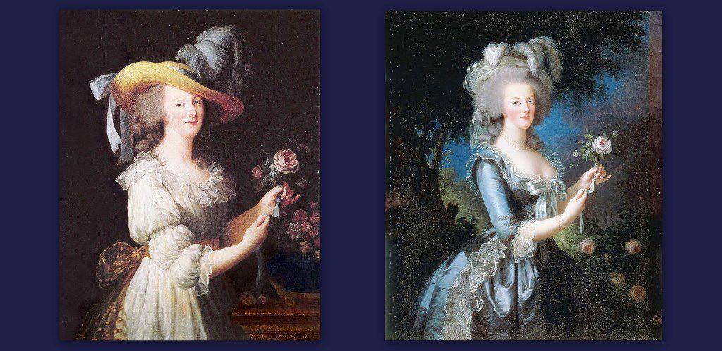 Le tableau qui fit scandale en 1783 : le portrait de la Reine en gaule (chemise) à gauche. Il fut refait,évidemment.