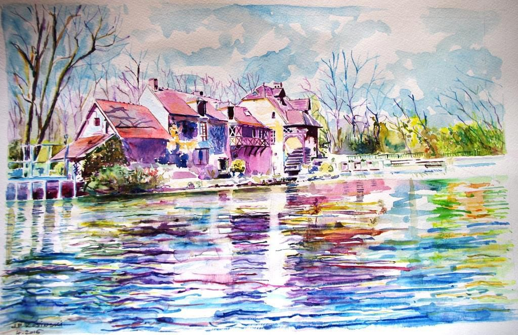 Le moulin de Fourges aquarelle 40 x 30 cm avril 2016
