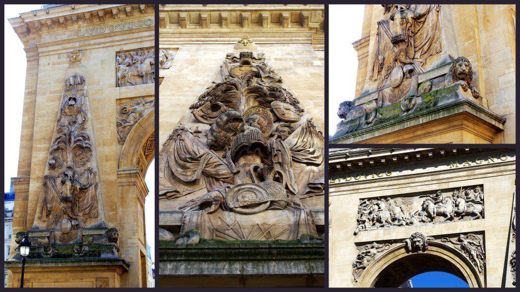 Détails de la porte Saint-Denis face nord