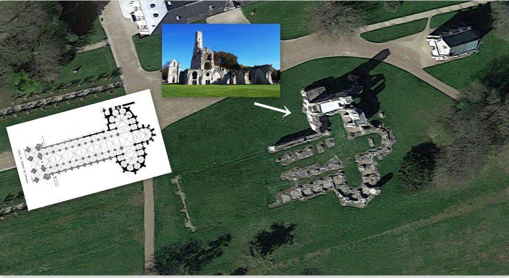 L'image çi-dessus montre la taille d'origine de l'église abbatiale.