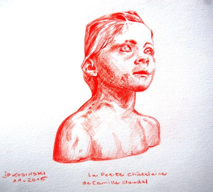 """Dessin au crayon """"La Petite Châtelaine"""", d'après la  première version en terre cuite de Camille au château de l'Islette."""