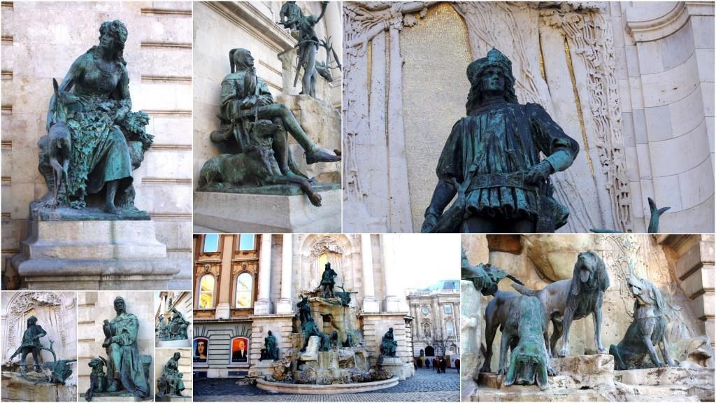 La fontaine Mathias, roi de Hongrie située dans le palais royal de Budapest sur les hauteurs de Buda