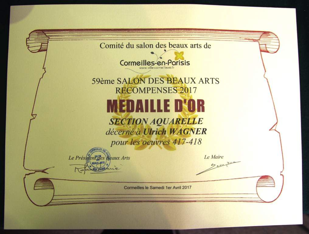 Médaille d'Or section aquarelle Ulrich Wagner