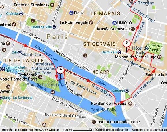 La suite du circuit : de l'Ile Saint-Louis au Marais