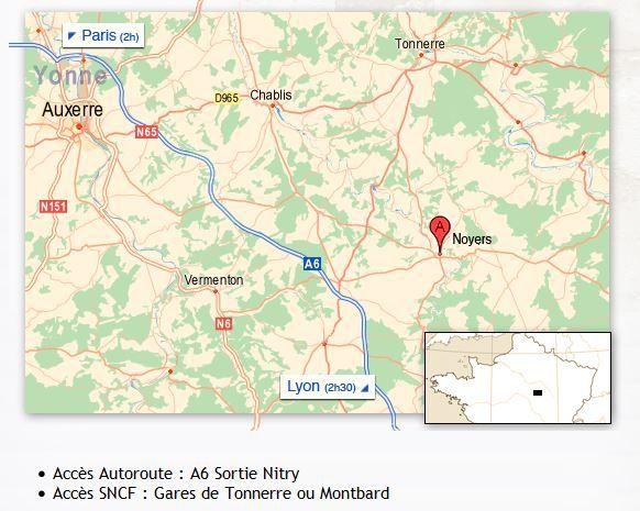 Plan d'accès au village de Noyers-sur-Serein