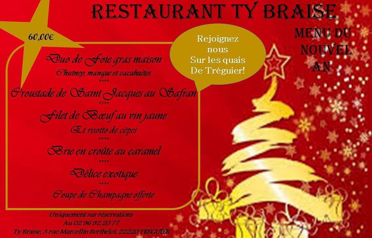 TREGUIER : Le restaurant Ty Braise fait la fête pour le réveillon de la Saint Sylvestre