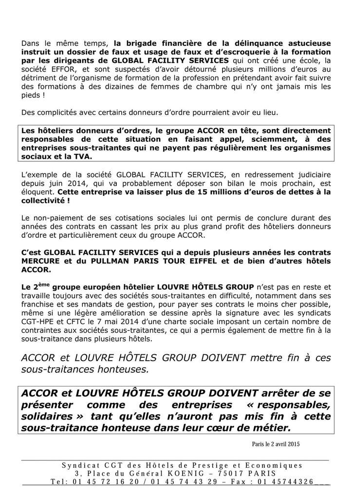 La CGT HPE face au groupe Accor