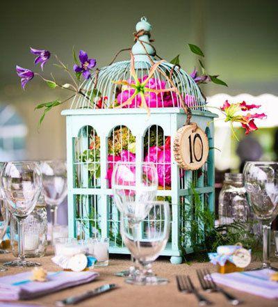 centre de table mariage cage oiseaux