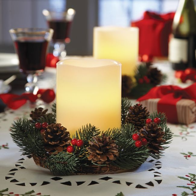 decoration table de noelbougie cire led
