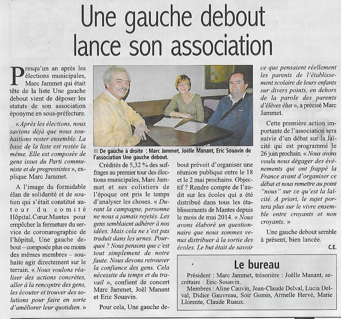 Le Courrier de Mantes. Une gauche debout lance son association