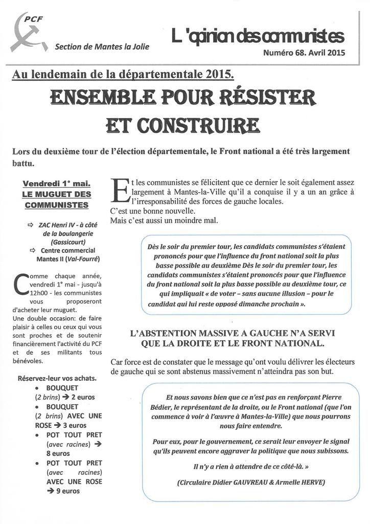 Au lendemain de la départementale 2015. ENSEMBLE POUR RESISTER ET CONSTRUIRE