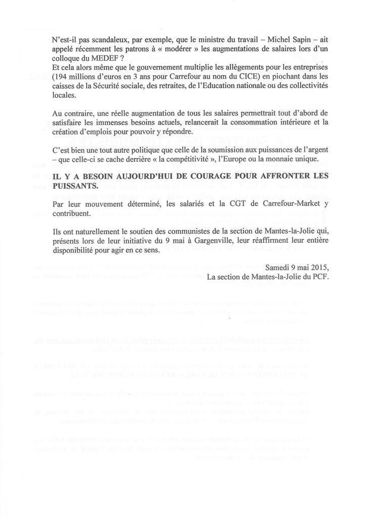 CARREFOUR-MARKET, LES WEEK-ENDS DE LA COLERE.  Le soutien des communistes