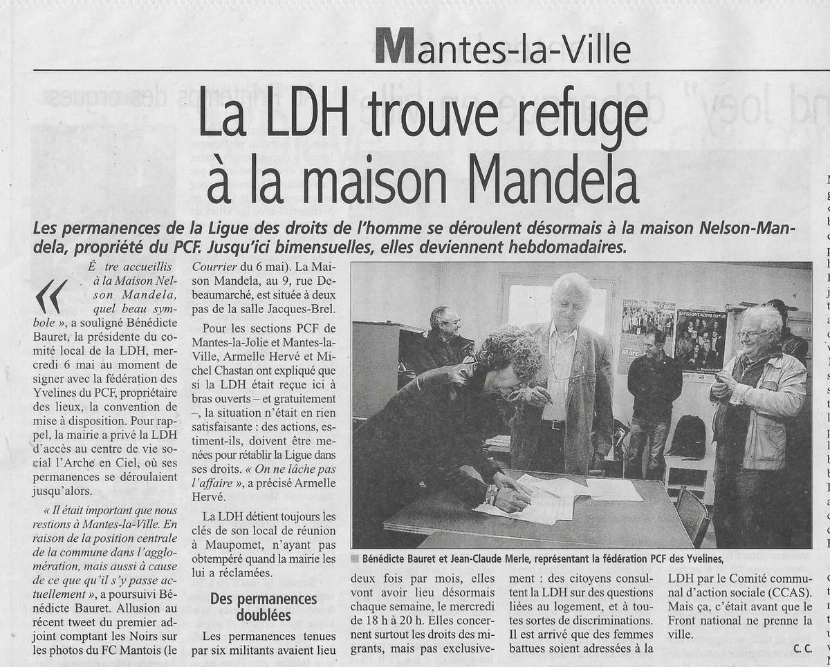 Le Courrier de Mantes. La LDH trouve refuge à la maison Mandela.