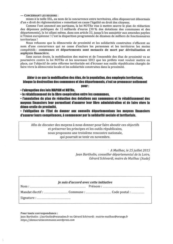 Défendre les communes et les conseils départementaux, c'est se prononcer pour l'abrogation des lois NOTRe et MAPAM