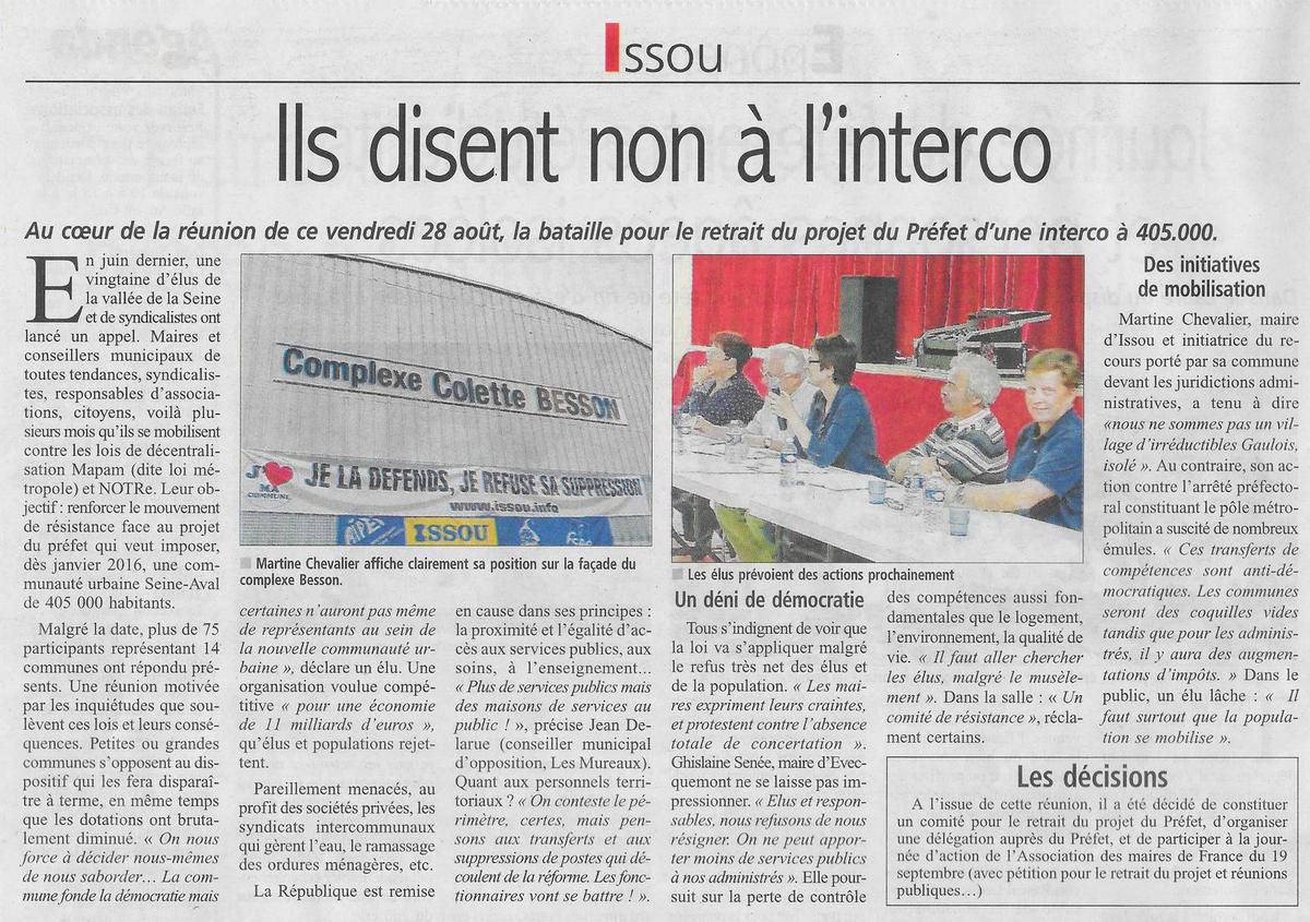 Le Courrier de Mantes. ils disent non à l'interco