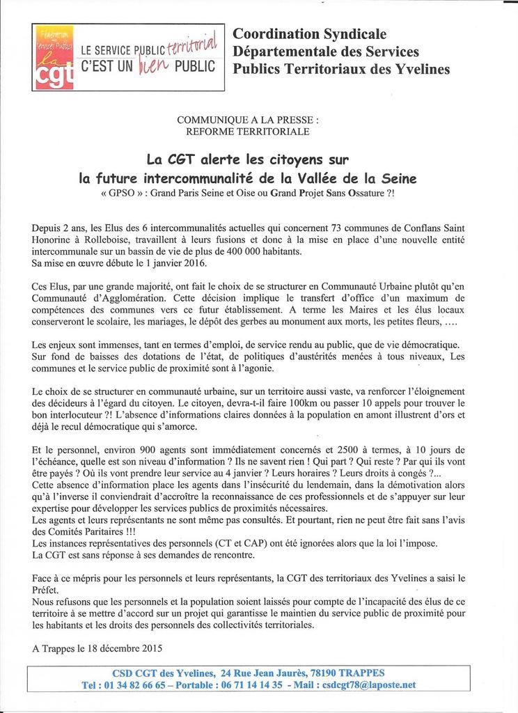 Grand Paris -Seine &amp&#x3B; Oise. La CGT inquiète