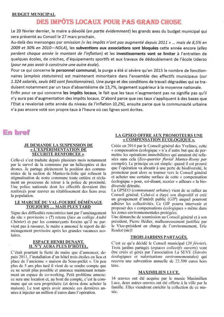 Mantes-la-Jolie. Lettre d'informations municipales 112 - Mars &amp&#x3B; Avril 2017
