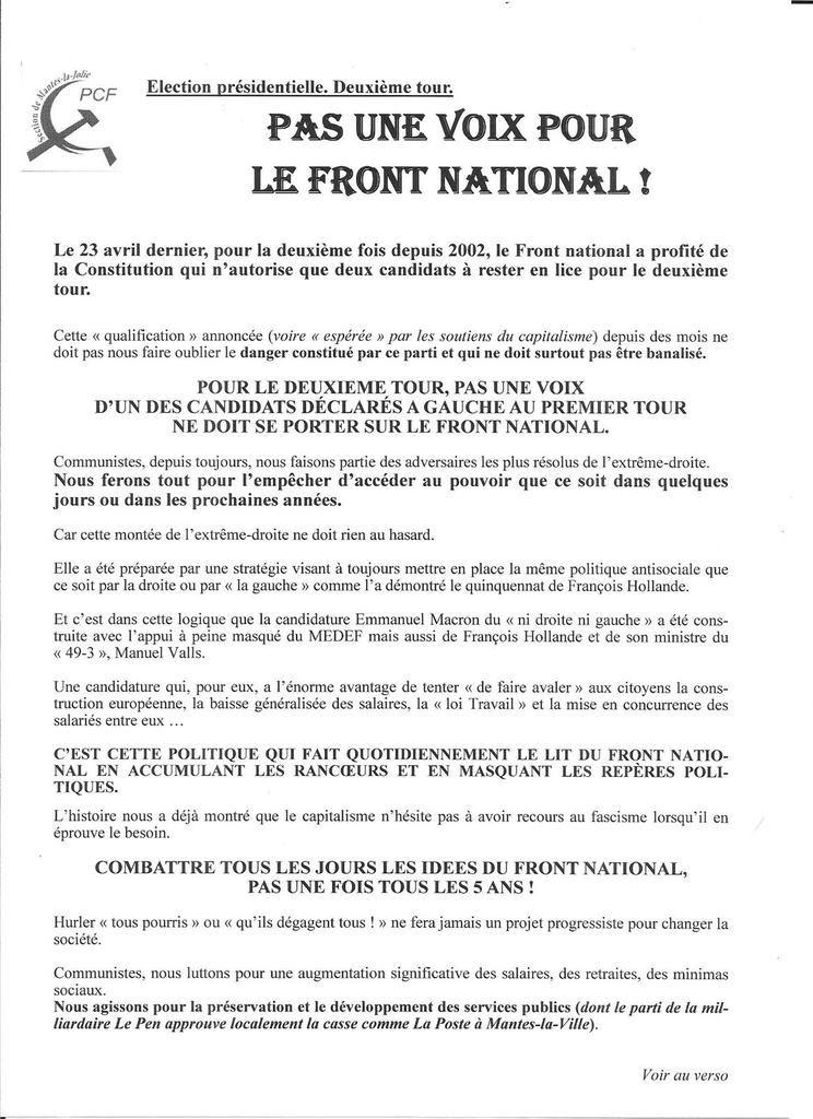 Election présidentielle. Deuxième tour. Pas une voix pour  le Front national !