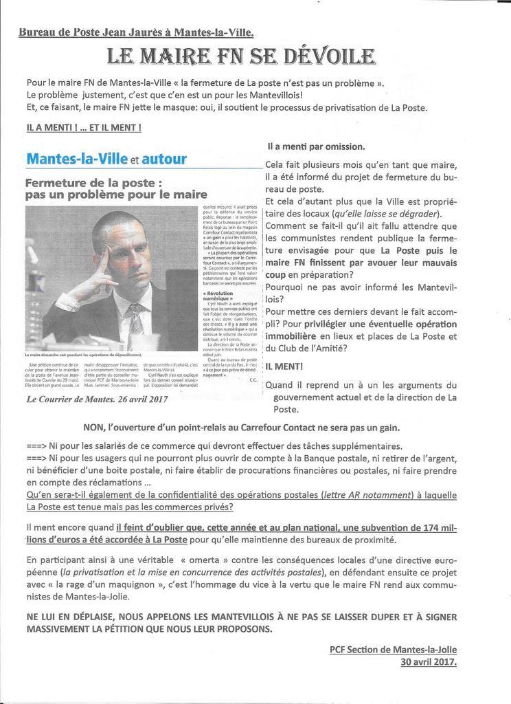 Bureau de Poste Jean Jaurès à Mantes-la-Ville. Le maire FN se dévoile