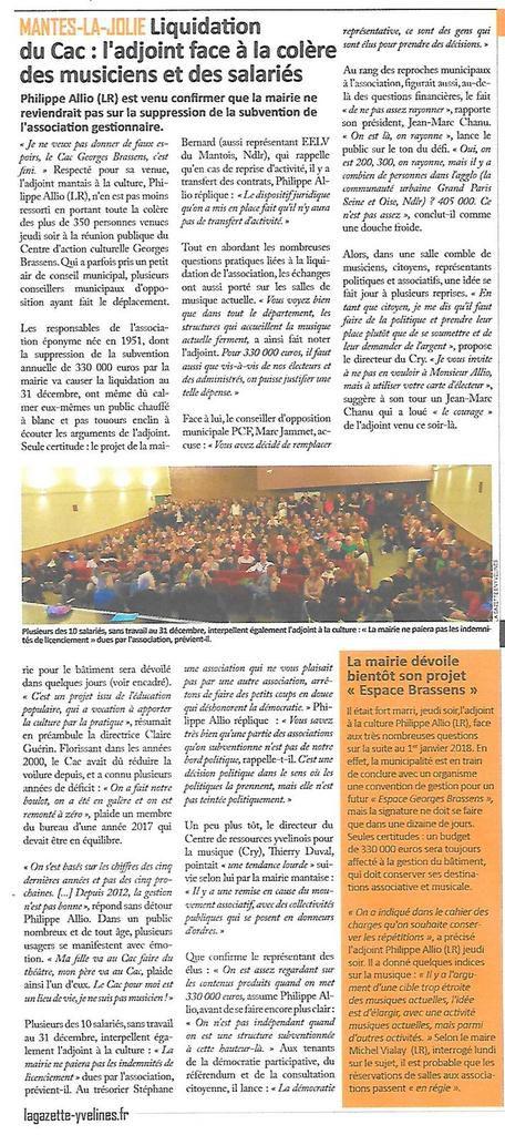La Gazette des Yvelines. Liquidation du CAC: l'adjoint face à la colère des musiciens et des salariés