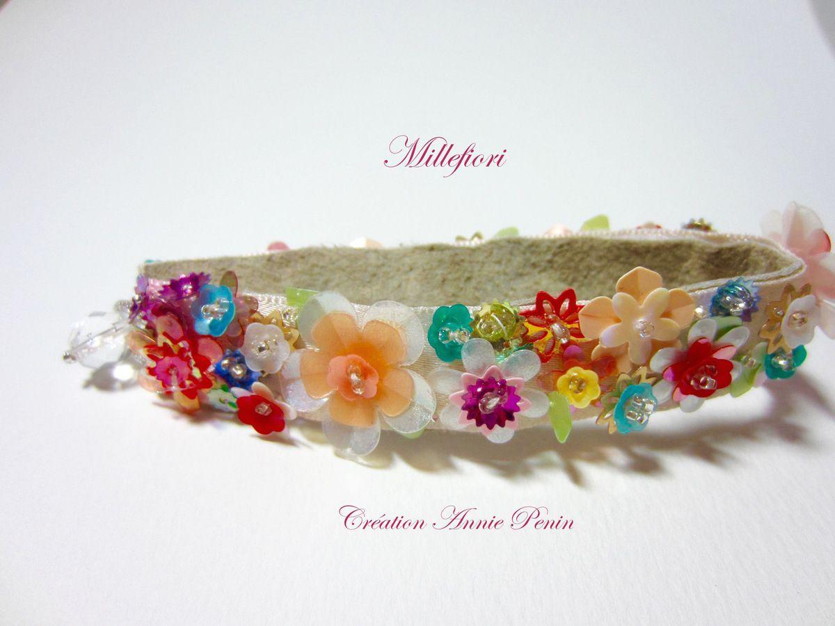 Millefiori, bracelet et pendentif