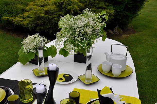 ma table en noir / blanc et vert