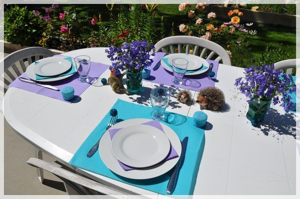 ma table en bleu et mauve...