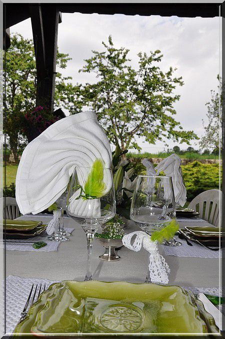 ma Table en Vert et Blanc...