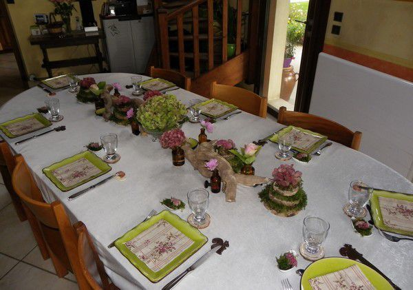 ma table bois vert vieux rose