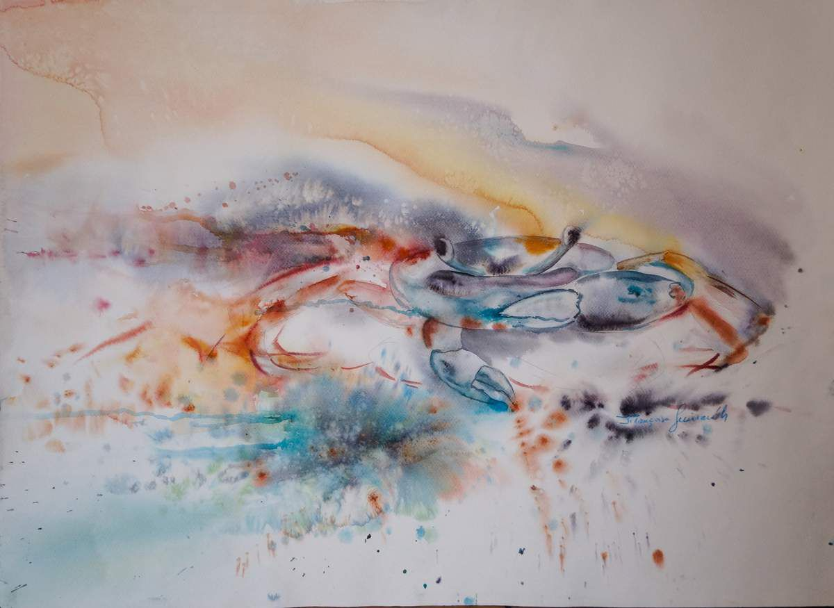 "Aquarelle sur Fabriano mixte , intitulée ""Le Scribe """