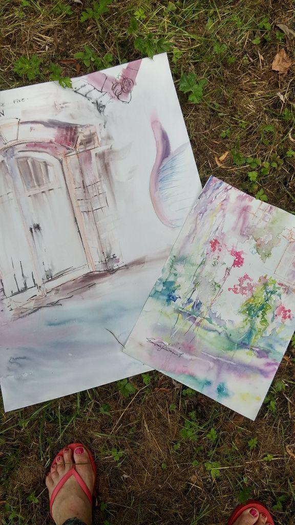 Voici 2 des aquarelles peintes sur place.