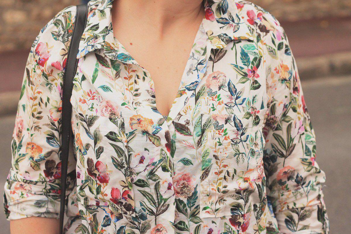 Combi &amp&#x3B; Chemise à Fleurs