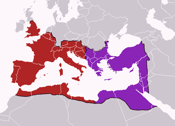 Le partage de 395 entre l'Empire romain d'Occident et l'Empire romain d'Orient.