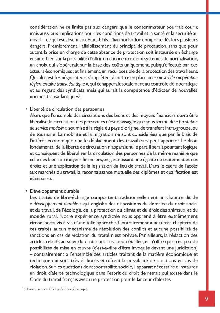 Document CGT traité TAFTA libre échange USA/UE