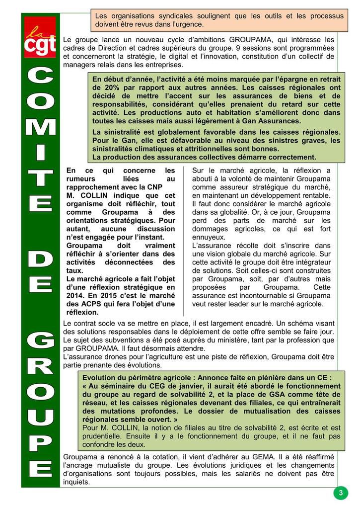 Comité de groupe du 21 mars 2015 -  Résultats, actualités, effectifs Groupama - Ce qu'en pense la CGT